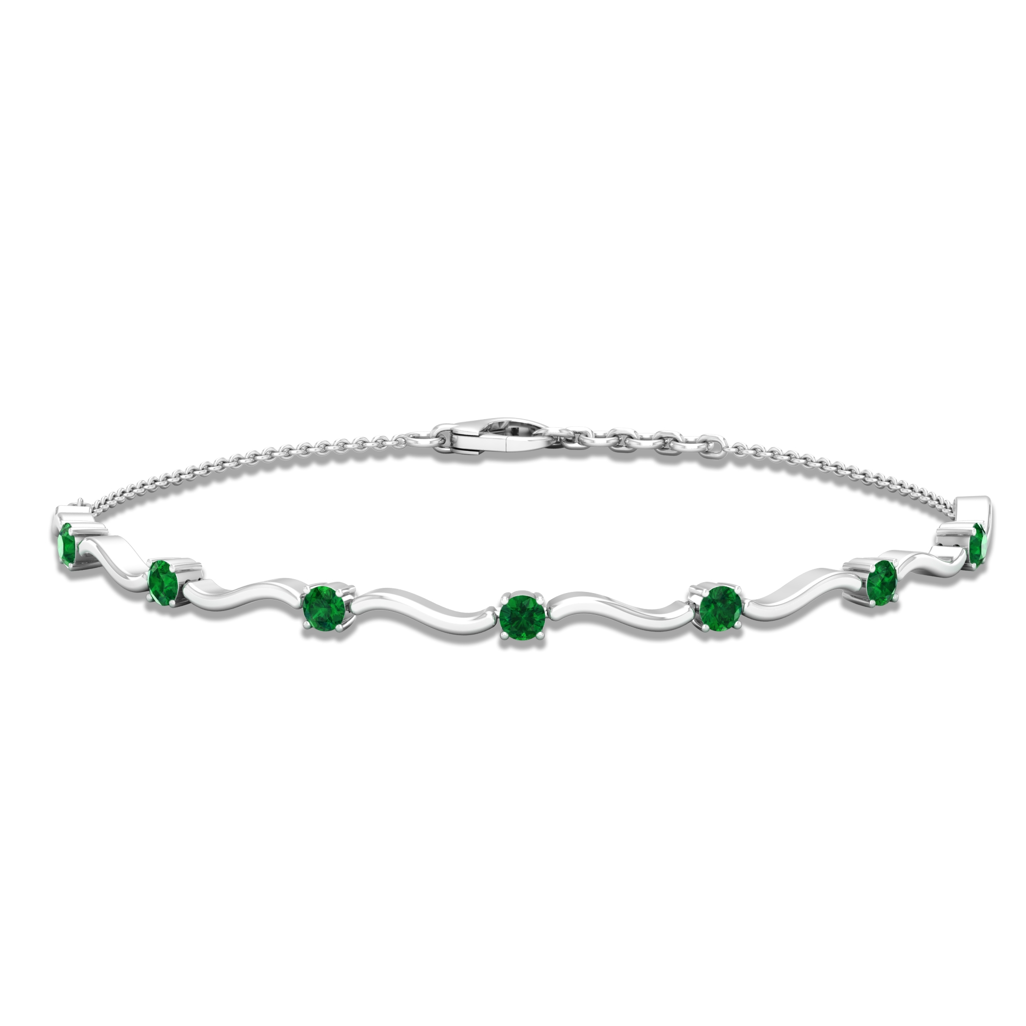 May Birthstone 0.75 CT Simple Emerald Stacking Style Wave Chain Bracelet for Women