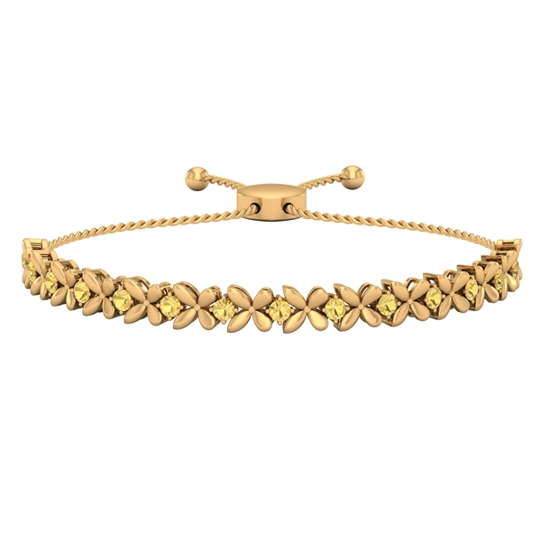 1.25 CT Citrine Floral Tennis Bolo Bracelet with Gold Rope Chain