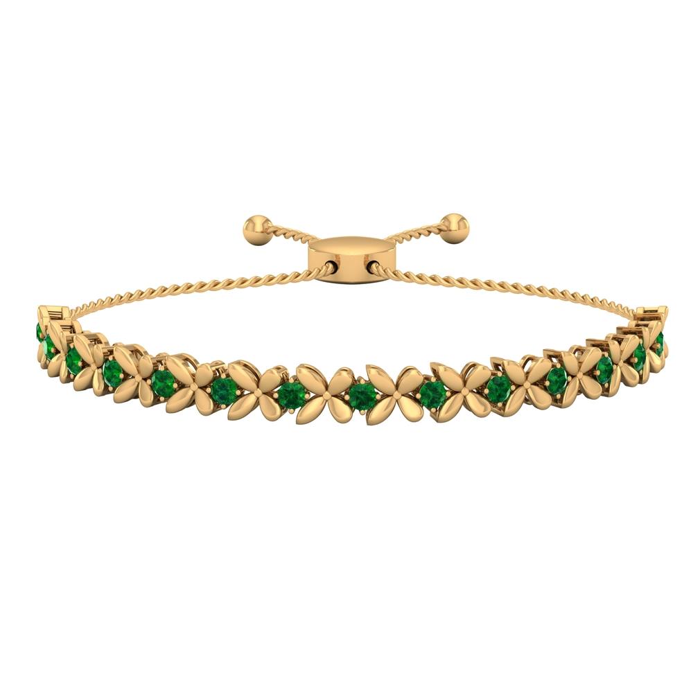 May Birthstone 1.25 CT Emerald Gold Floral Tennis Bolo Bracelet with Gold Rope Chain