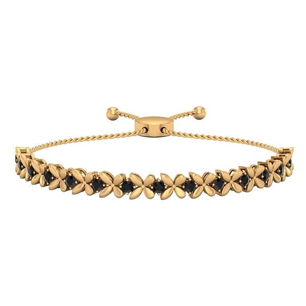 1.50 CT Black Diamond Floral Tennis Bolo Bracelet with Gold Rope Chain