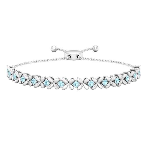 1.25 CT Sky Blue Topaz Floral Tennis Bolo Bracelet with Gold Rope Chain
