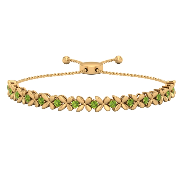 1.25 CT Peridot Floral Tennis Bolo Bracelet with Gold Rope Chain
