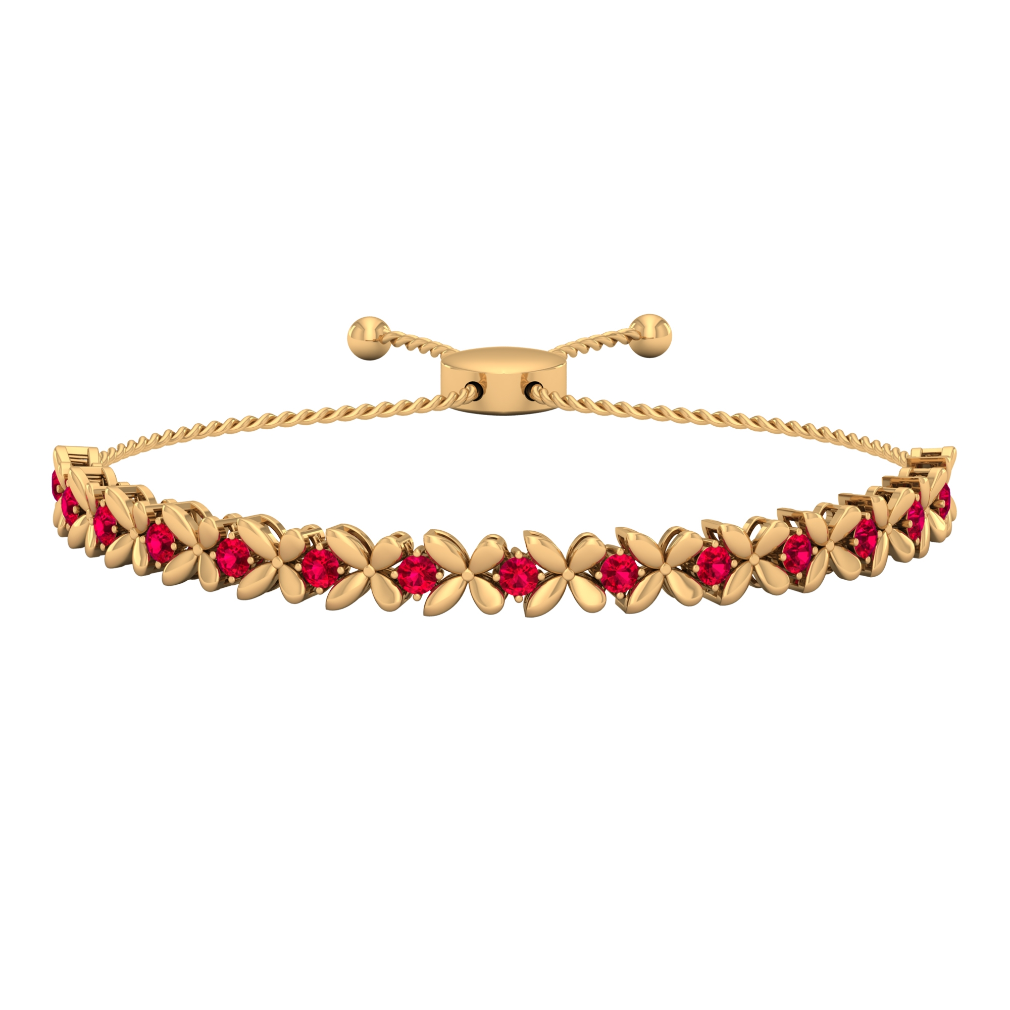 1.25 CT Ruby Floral Tennis Bolo Bracelet with Gold Rope Chain