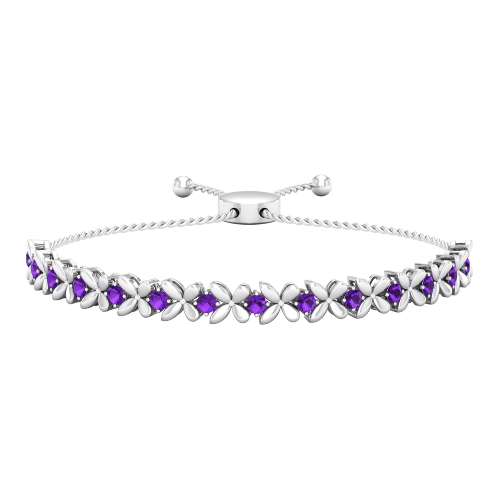 1.25 CT Amethyst Floral Tennis Bolo Bracelet with Gold Rope Chain