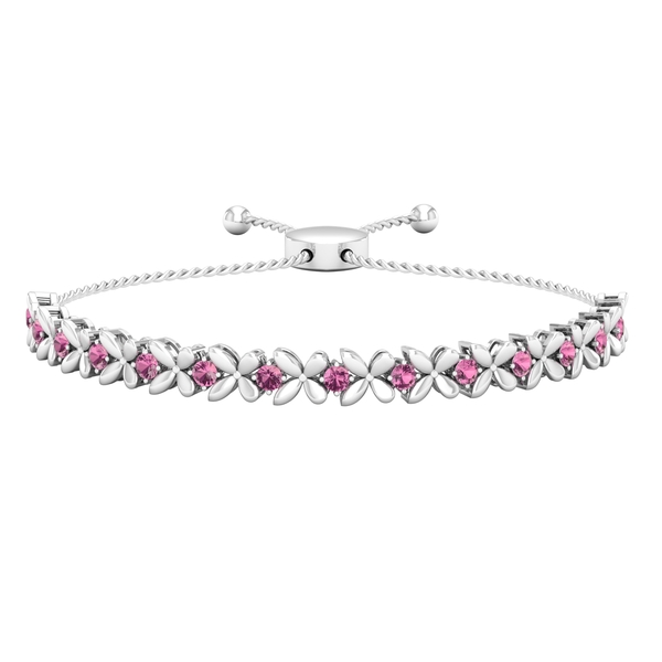 1.25 CT Pink Tourmaline Floral Tennis Bolo Bracelet with Gold Rope Chain