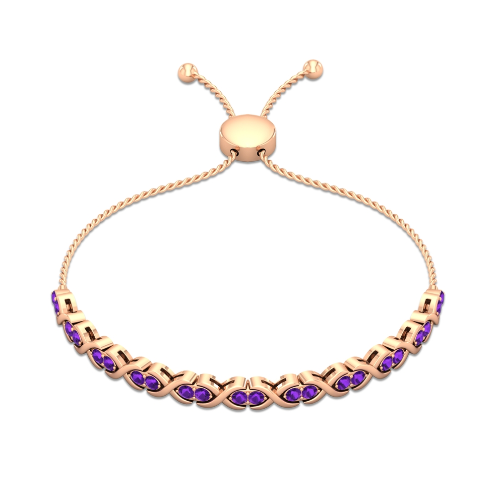 1.50 CT Amethyst Gold Infinity Tennis Bolo Bracelet for Women with Gold Rope Chain