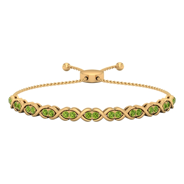2 CT Peridot Gold Infinity Tennis Bolo Bracelet for Women with Gold Rope Chain