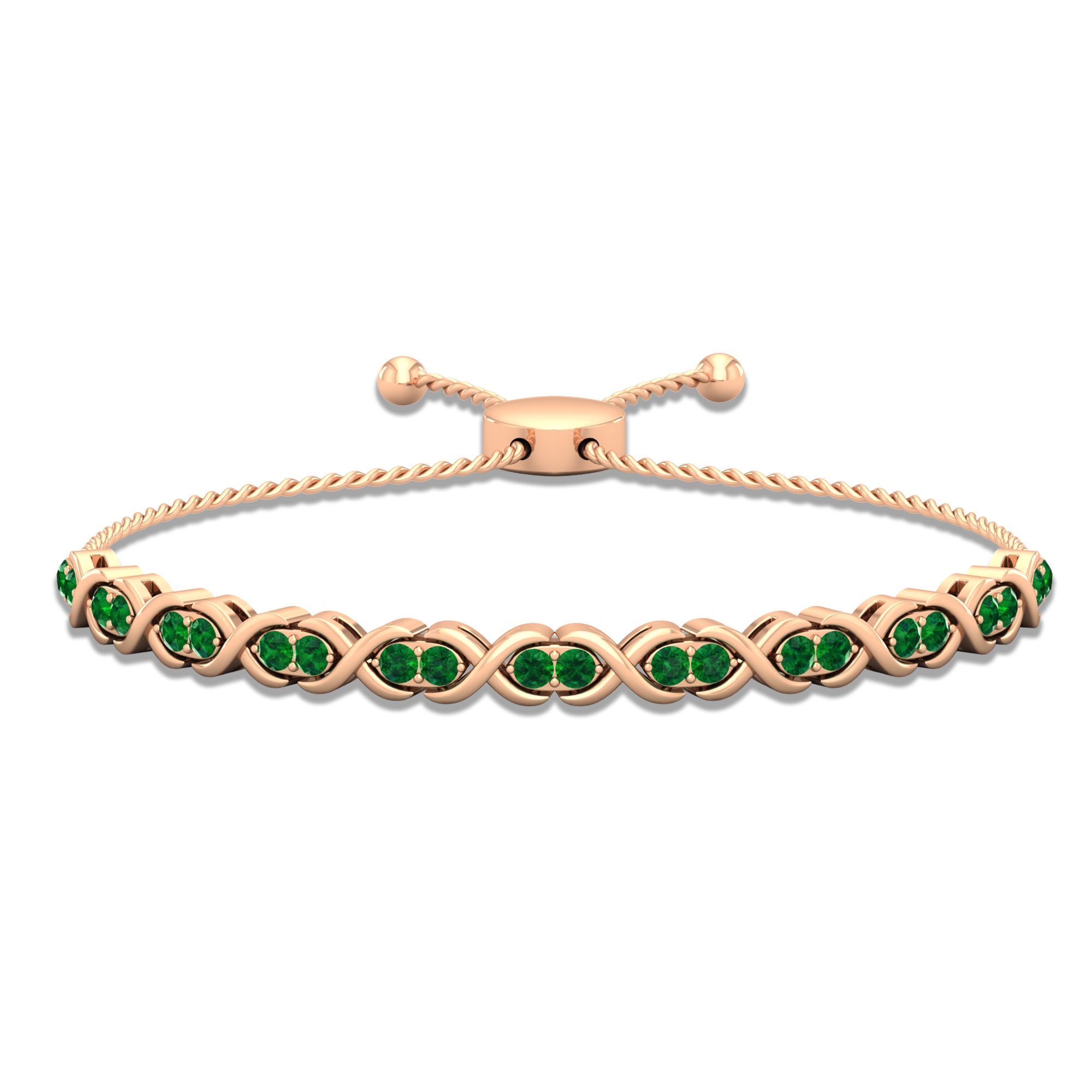 1.25 CT Round Cut Emerald Tennis Bolo Bracelet in Prong Setting