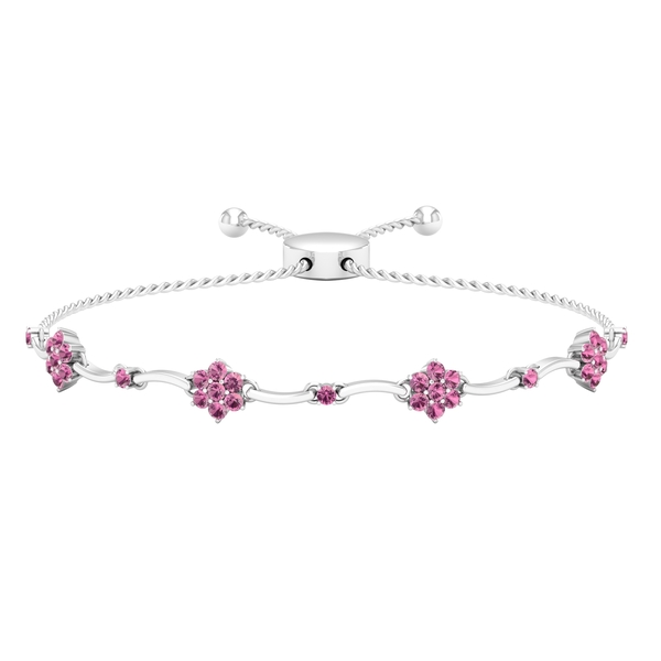 1.25 CT Pink Tourmaline Flower Cocktail Rope Chain Bolo Bracelet for Women