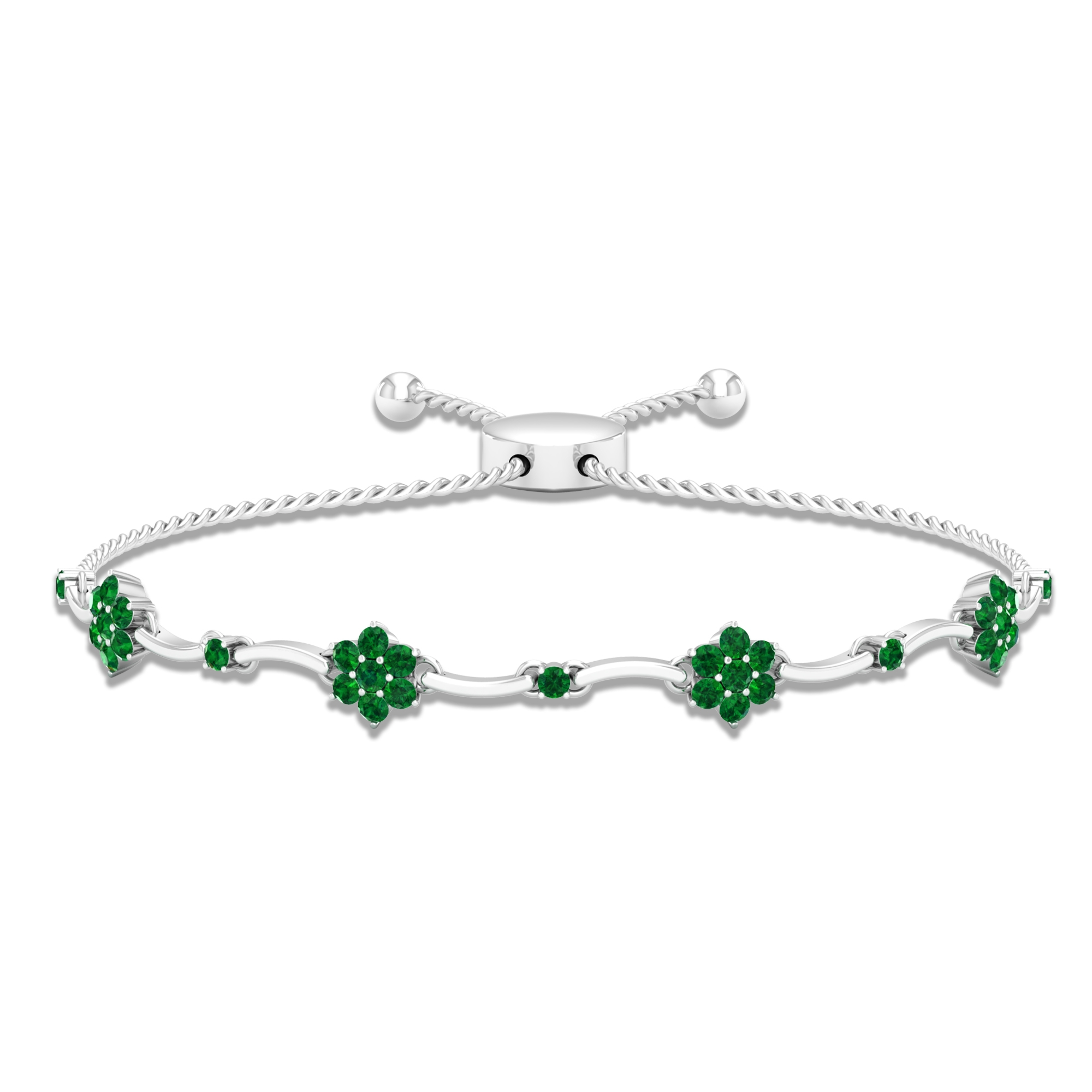 1.25 CT Round Cut Emerald Bolo Bracelet in Prong Setting