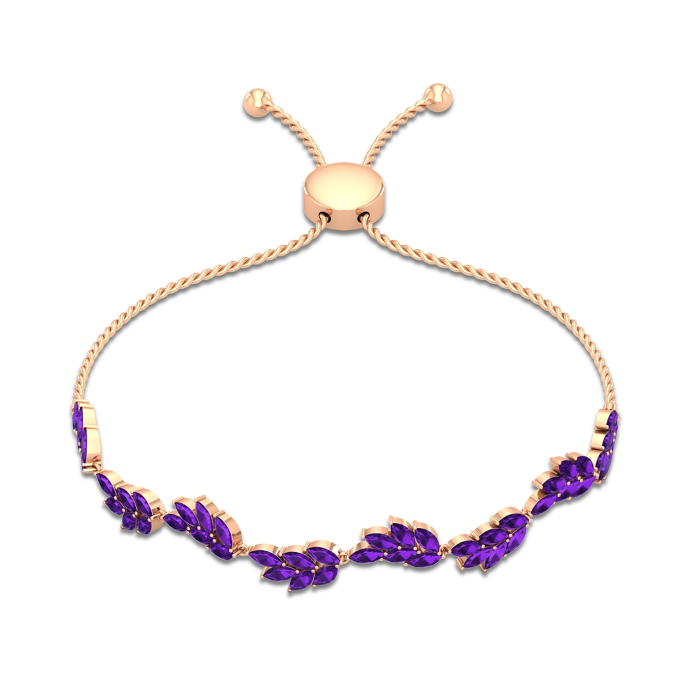 4.75 CT Marquise Cut Amethyst Floral Leaf Rope Chain Bolo Bracelet
