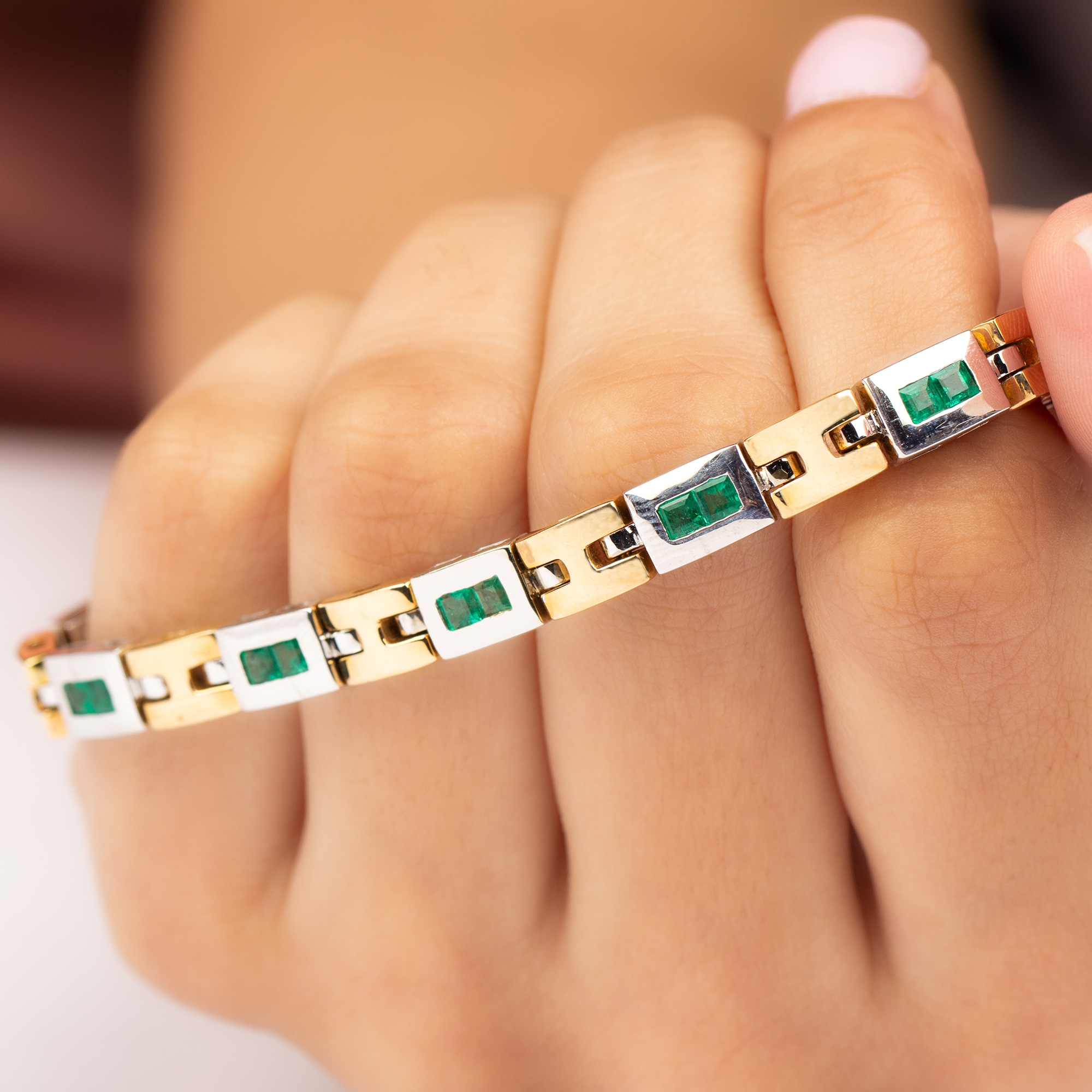 1.50 CT Princess Cut Emerald and Two Tone Gold Link Bracelet