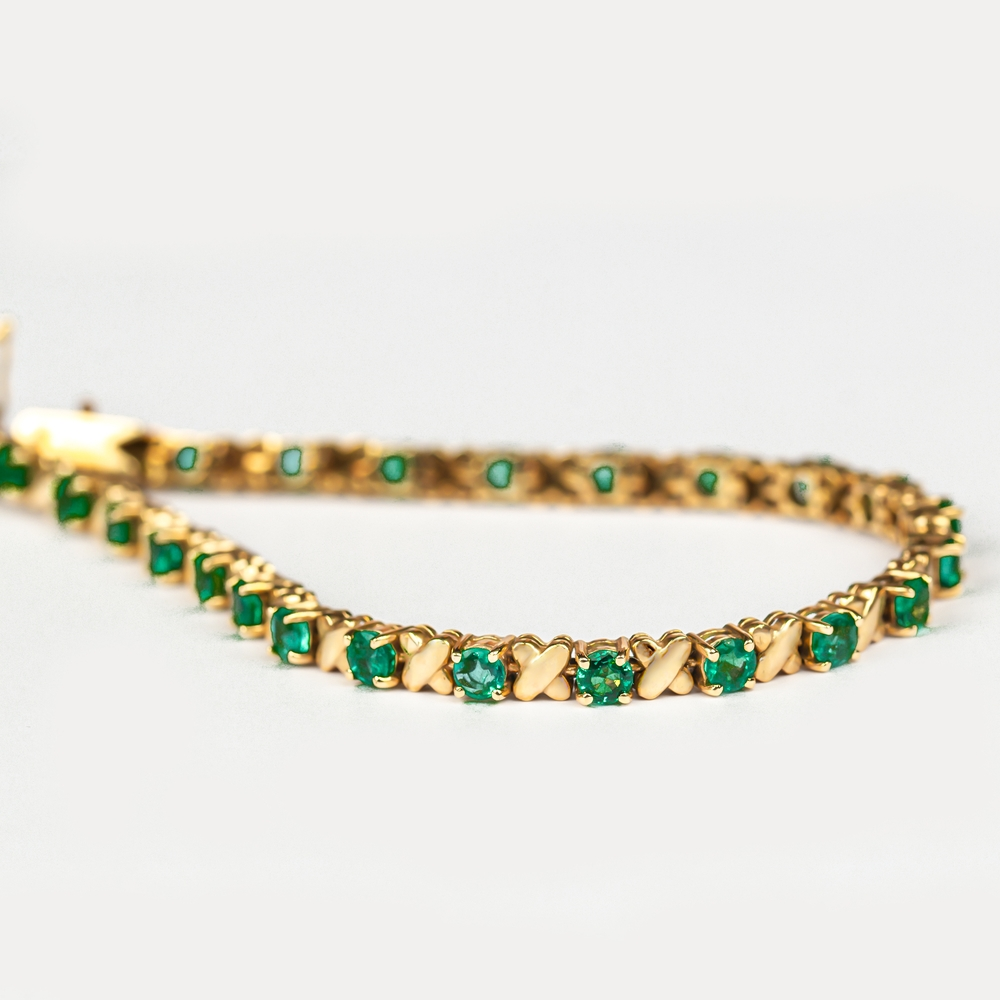 4 CT Round Cut Emerald and Gold Tennis Bracelet for Women