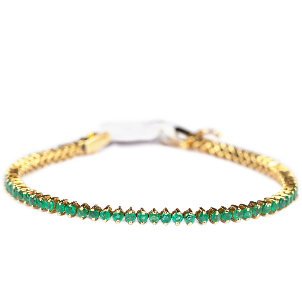 4 CT Round Cut Emerald Tennis Bracelet in Prong Setting
