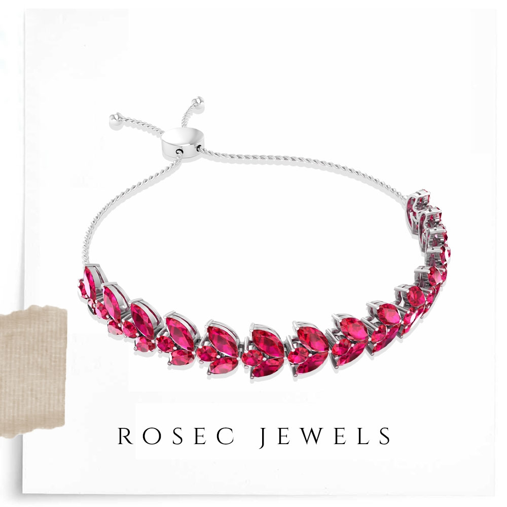 12.75 CT Marquise Ruby Bolo Bracelet