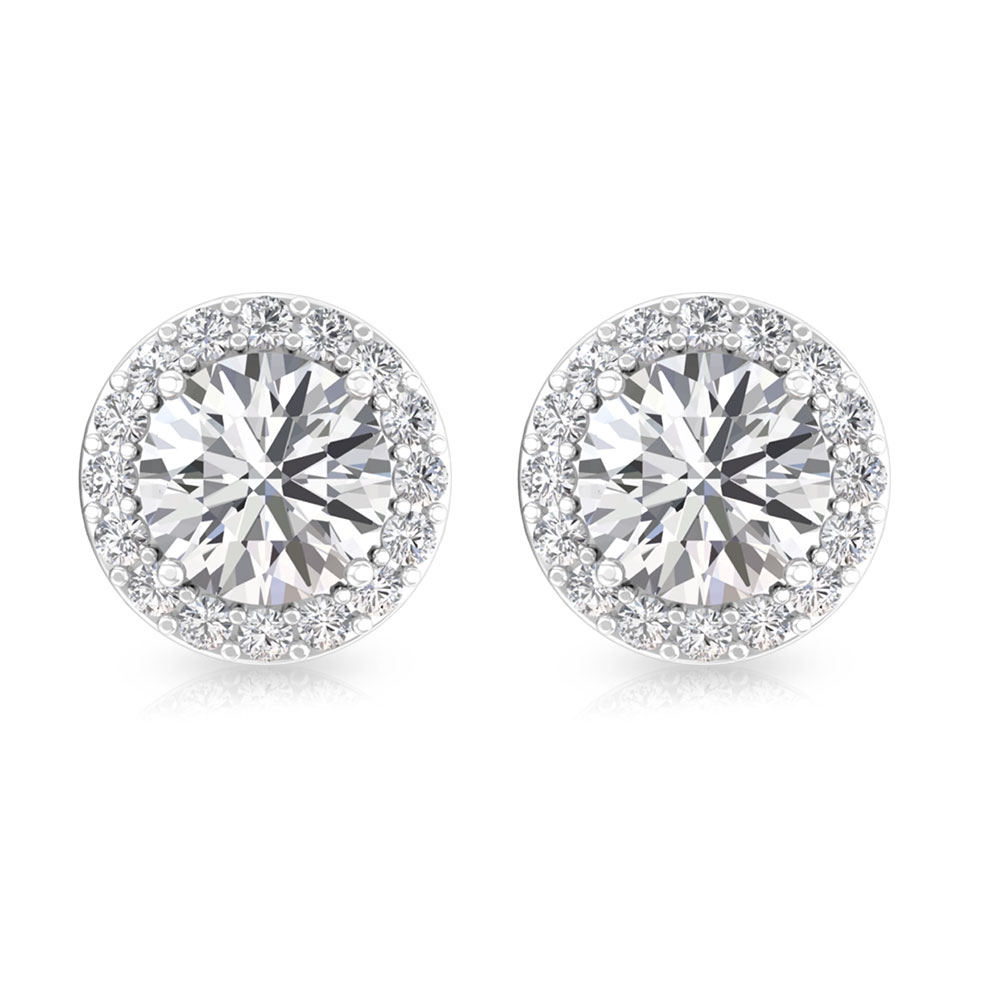 3/4 CT Round Diamond Solitaire Halo Earrings