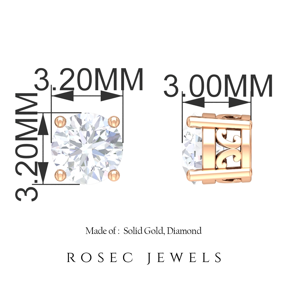 1/4 CT Diamond Solitaire Stud Earrings for Women in 4 Prong Setting