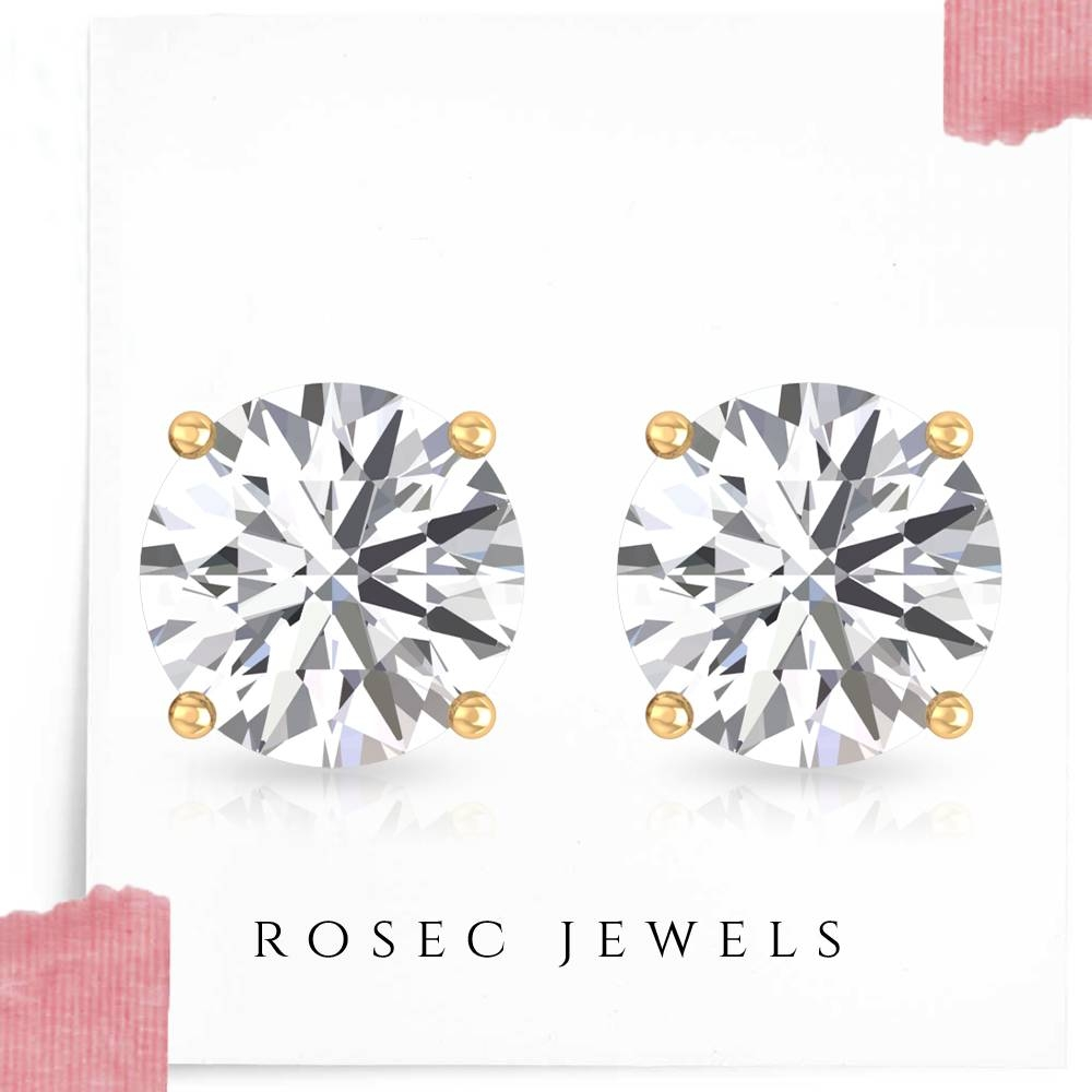 4.50X4.50 MM Round Cut Diamond Solitaire Stud Earrings in 4 Prong Setting
