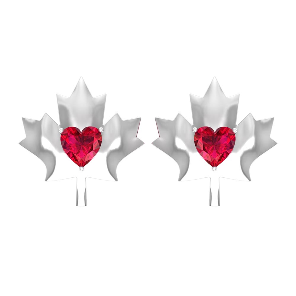 1/2 CT Maple Leaf Stud Earrings with Heart Shaped Ruby