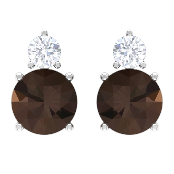 1.75 CT Smoky Quartz and Moissanite Two Stone Stud Earrings