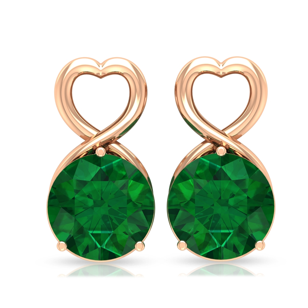 1.50 CT Emerald and Gold Heart Stud Earrings