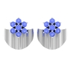 3/4 CT Tanzanite Flower and Gold Half Disc Stud Earring