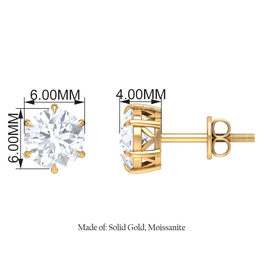 6X6 MM Claw Set Moissanite Solitaire Cocktail Stud earrings