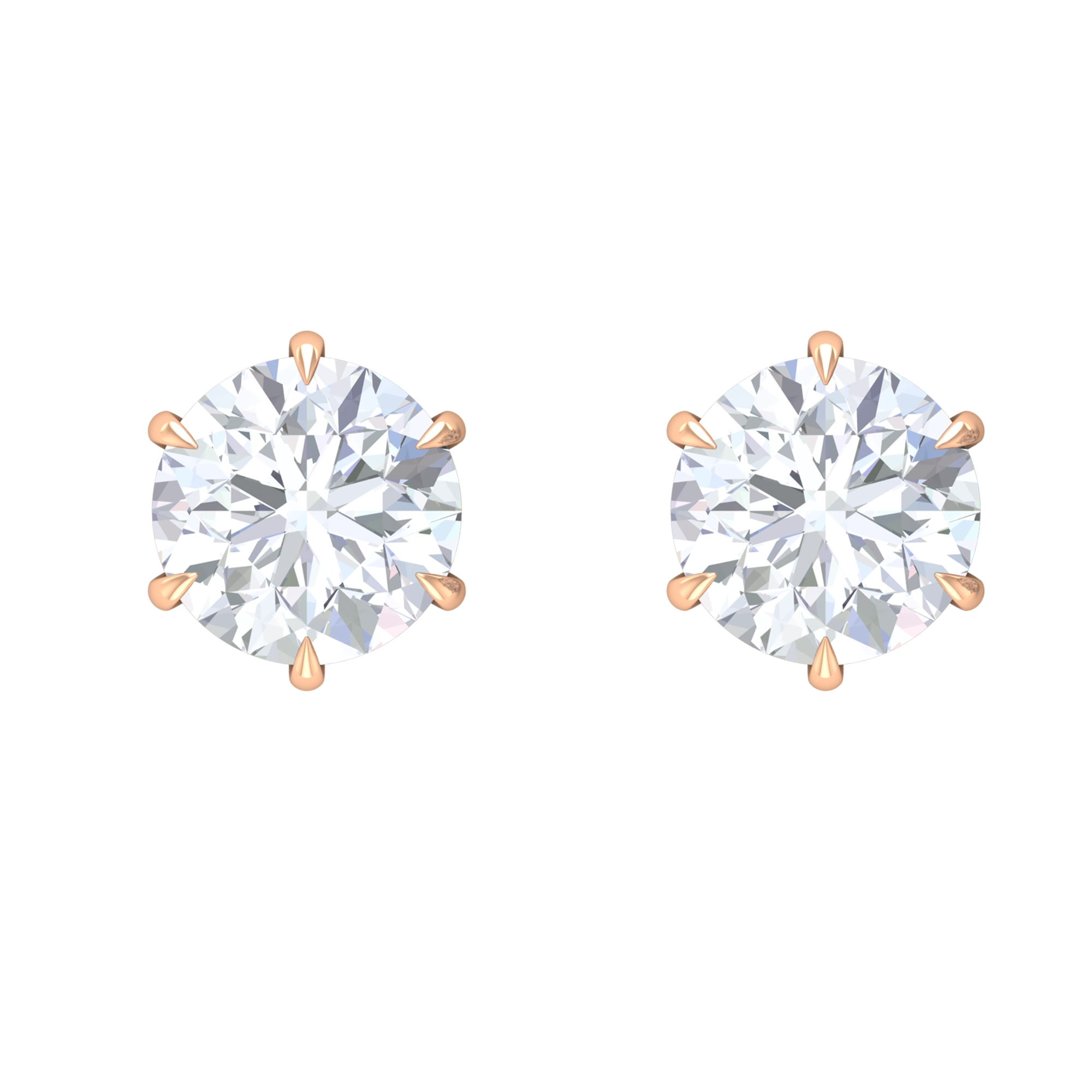 8 MM Claw Set Moissanite Solitaire Stud Earrings
