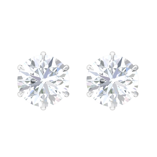 10 MM Round Cut Moissanite Solitaire Stud Earrings
