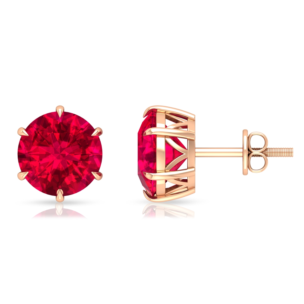 8 MM Claw Set Ruby Solitaire Stud Earrings