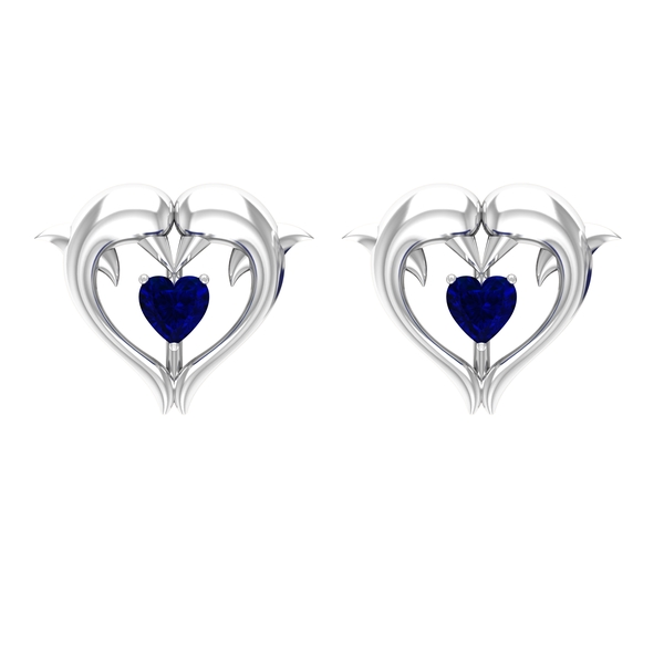 1/4 CT Blue Sapphire Heart and Gold Dolphin Stud Earrings
