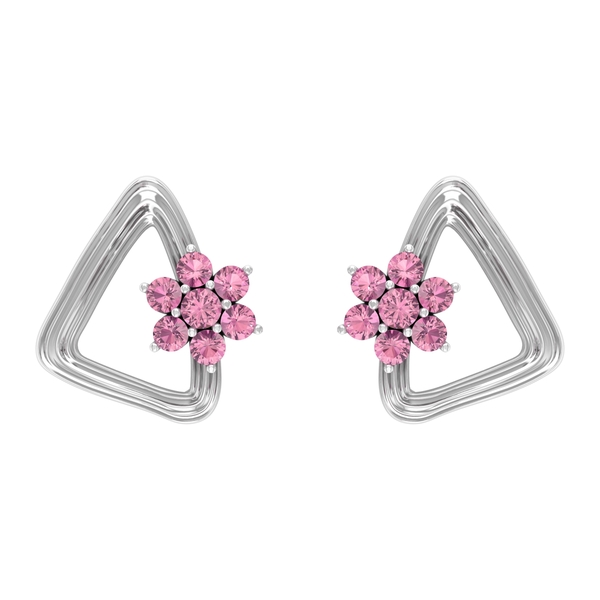 1/4 CT Pink Tourmaline Flower and Gold Triangle Stud Earrings