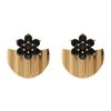 1/2 CT Black Onyx Flower and Gold Half Disc Stud Earring