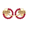 1/2 CT Ruby and Gold Lucky Clover Stud Earrings