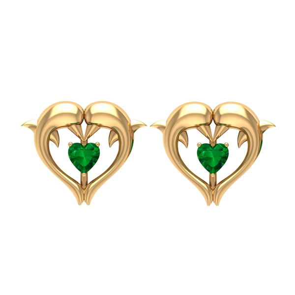 1/4 CT Emerald Heart and Gold Dolphin Stud Earrings