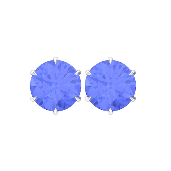 10 MM Claw Set Tanzanite Solitaire Stud Earrings