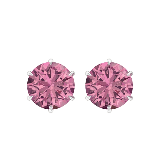 8 MM Claw Set Pink Tourmaline Solitaire Stud Earrings