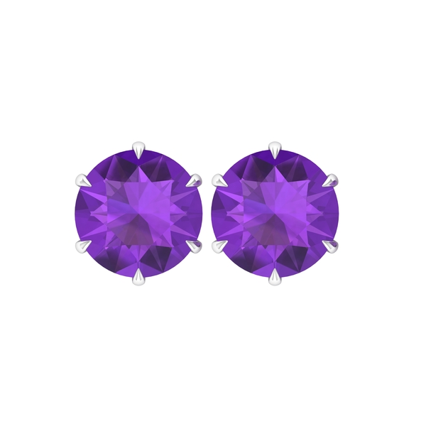 10 MM Claw Set Amethyst Solitaire Stud Earrings