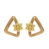 1/4 CT Gold Open Triangle Stud Earrings with Citrine Flower