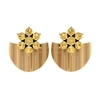 1/2 CT Citrine Flower and Gold Half Disc Stud Earring