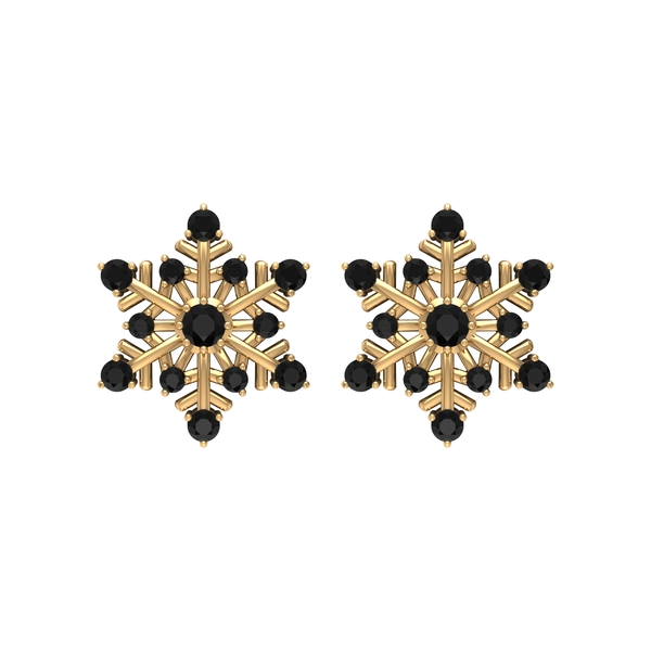 1/4 CT Black Spinel and Gold Snowflake Stud Earrings for Women