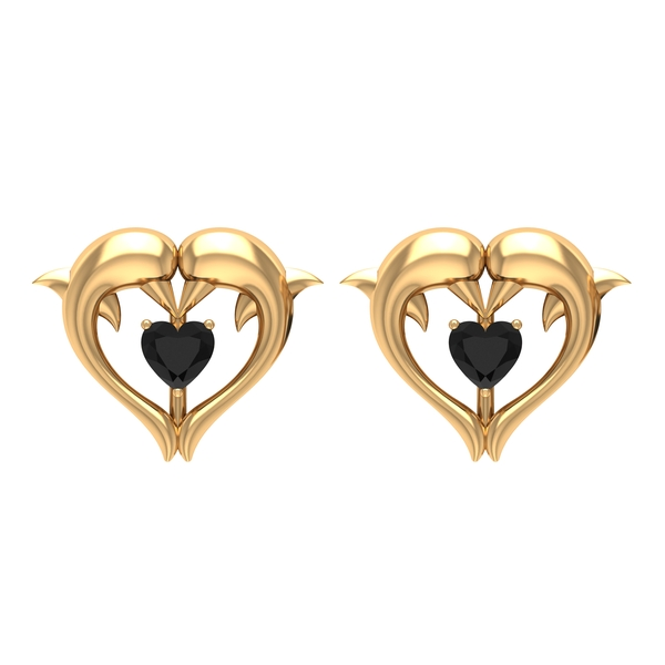 1/2 CT Black Spinel Heart and Gold Dolphin Stud Earrings