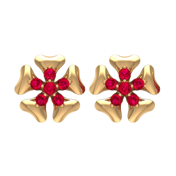 1/2 CT Ruby and Gold Five Petal Flower Stud Earring