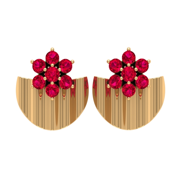 3/4 CT Ruby Flower and Gold Half Disc Stud Earring