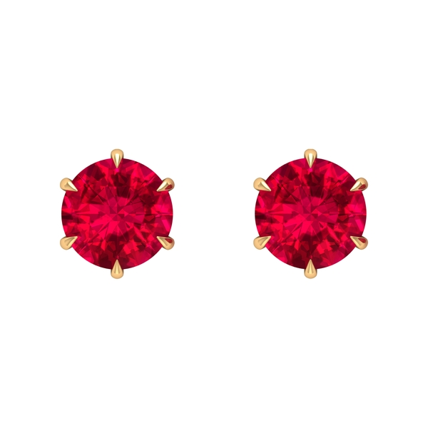 7 MM Claw Set Ruby Solitaire Stud Earrings