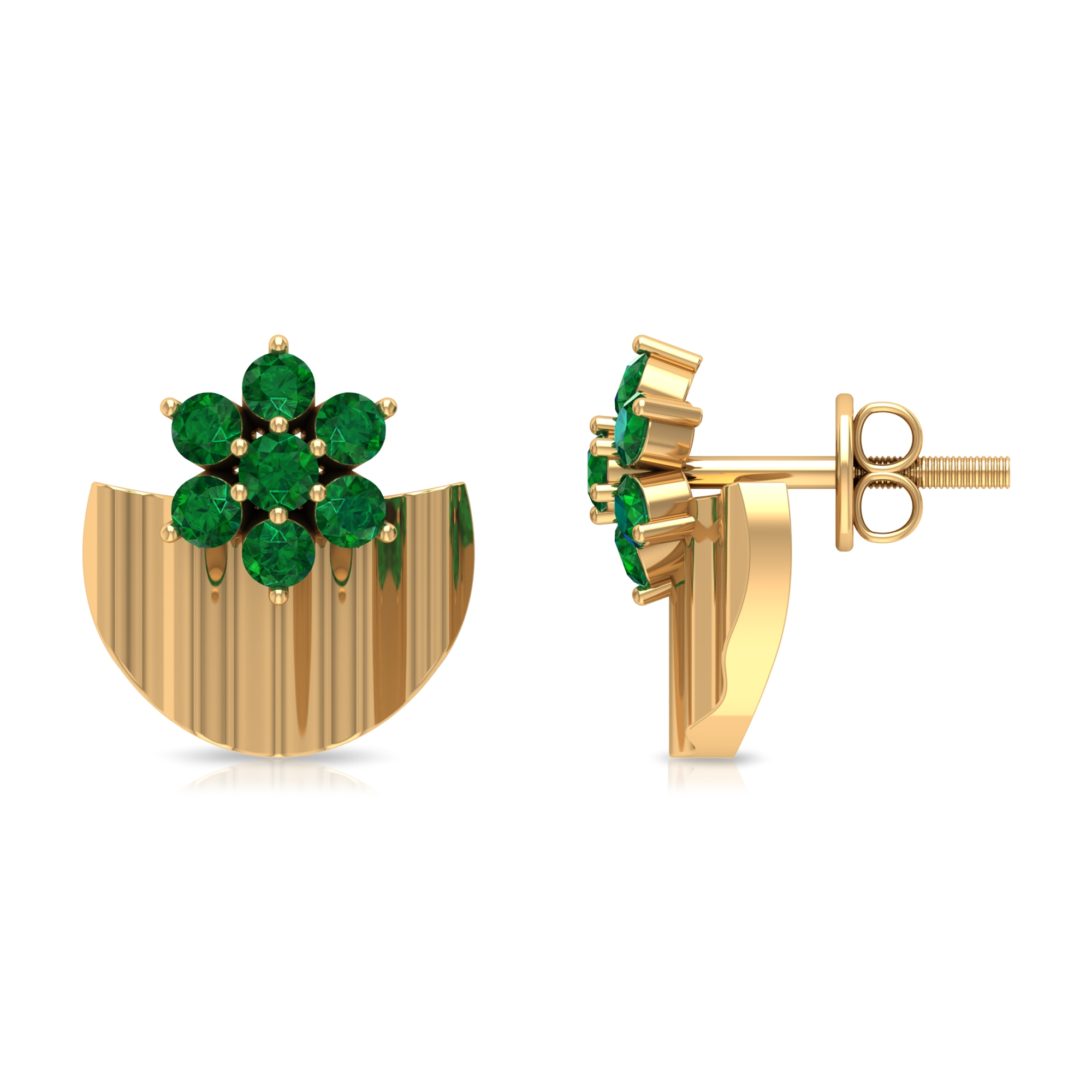 1/2 CT Emerald Flower and Gold Half Disc Stud Earring