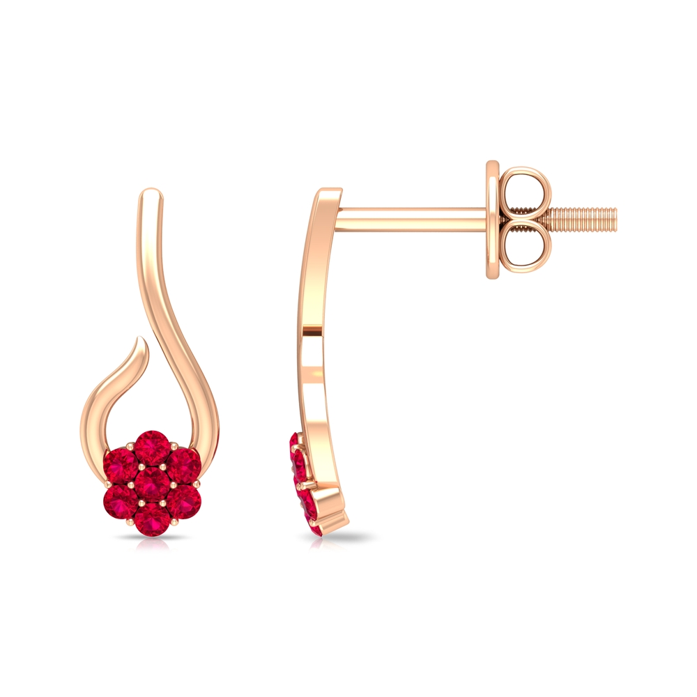 Dainty Floral Stud Earrings with Created Ruby