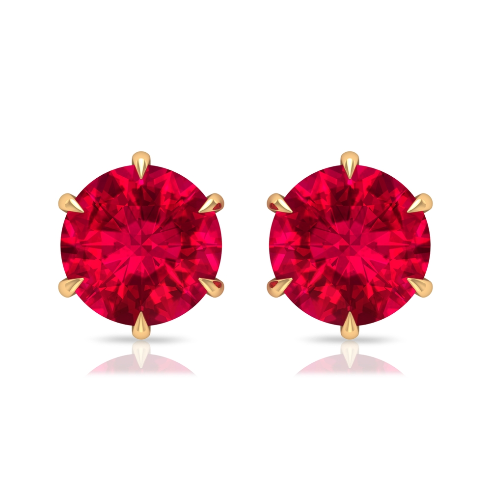 6 MM Claw Set Ruby Solitaire Stud Earrings