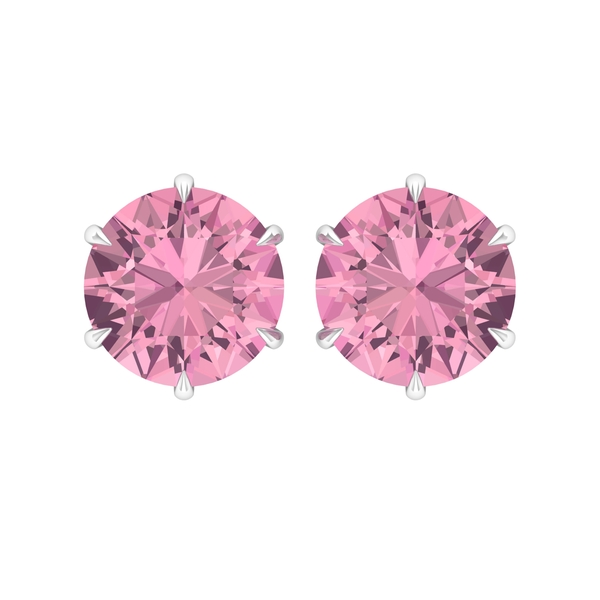 6 MM Claw Set Pink Tourmaline Solitaire Stud Earrings