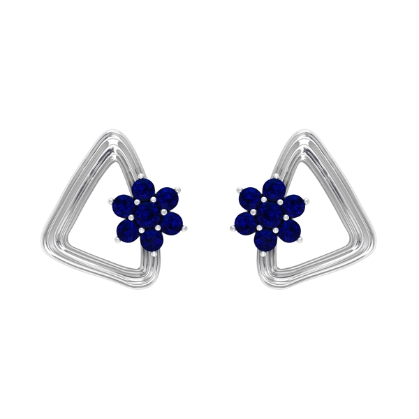 1/4 CT Created Blue Sapphire Flower and Gold Triangle Stud Earrings